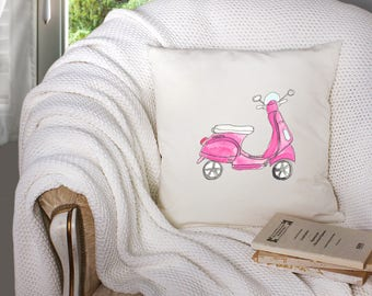 pink vespa throw pillow - vespa decor - pink vespa decor - pink scooter decor  - decorative throw pillow . throw pillow with words -