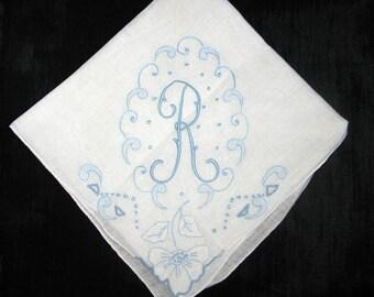 Madeira Handkerchief, Initial E, A, R, B or D Handkerchief, Letter Monogrammed, Hankerchief Monogram