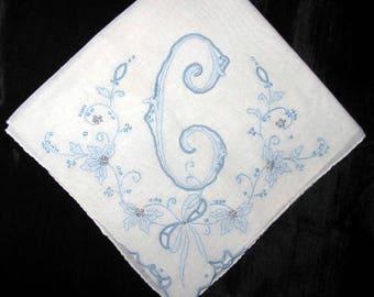Handkerchief bride initial blue a, b, h or L monogrammed vintage handkerchief bridal gift