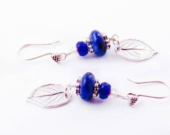 Lapis Lazuli Sterling Silver Leaf Earrings Gemstone Earrings Artisan Rustic Leaf Earrings