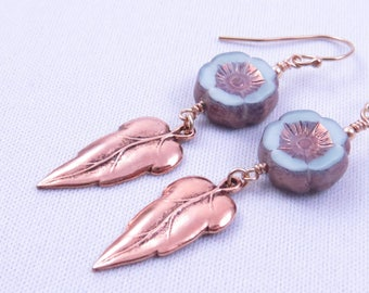Hawaiian Flower Earrings, Mint Metallic Bohemian Dangle Earrings, Czech Glass Earrings