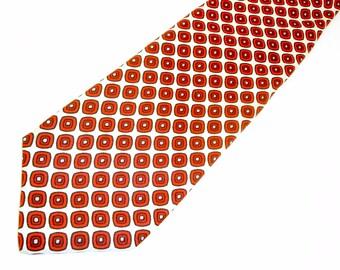 1960s MOD All Silk Tie Vintage Mad Men Era Mid Century Modern White Silk Necktie with Printed Mod Foulard Designs in Red & Black