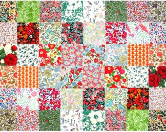 """Liberty of London 48 Mini 2.5"""" Charm Square Pack 2 of each design Red Green Orange Patchwork Quilting Cotton Tana Lawn Fabric"""