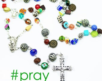 Contemporary Handmade Rosary--Repurposed--Hippie Style--Catholic--Prayer Beads--Inspirational--One of a Kind--Pray--Boho--Upcycled--Hope