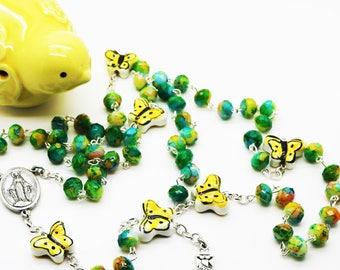 Rosary--Contemporary Handmade Rosary--Yellow Green Boho Beads--Butterflies--Catholic--Prayer Beads--Inspirational--One of a Kind--Faith