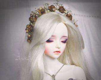 Gold Breath flower handmade headband wreath corolla crown headwear for bjd dollfie sd 7-9 inch size dolls heads pullip taeyang