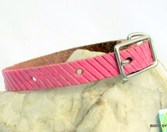 Pink Lines Small Leather Dog Collar Handmade Solid Genuine Real Leather