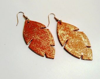 camel leather and gold earrings