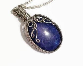 Lapis Wire Wrap Necklace Pendant/ Lapis Lazuli Wire Wrap Necklace/ Wire Wrap Jewelry/ Blue Necklace/ Wire Wrapped