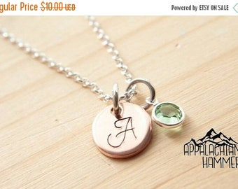 WEEKEND SALE Tiny Copper Monogram with Birthstone charm, hand stamped, initial necklace