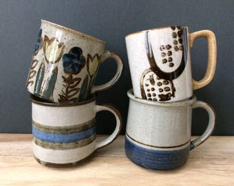 vintage Mid Century stoneware blue & brown mug collection