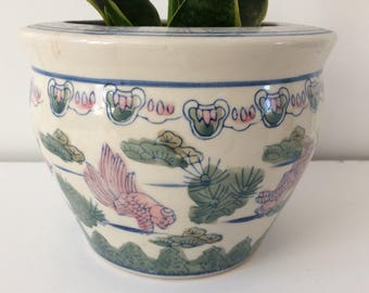vintage Koi fish Chinoiserie planter / cache pot