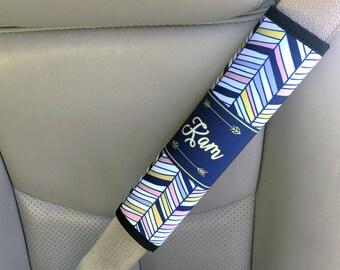 Personalized seat belt strap cover, Aztec print navy blue, Chevron car accessory, Chevron padded seat belt strap cover girls (1426)