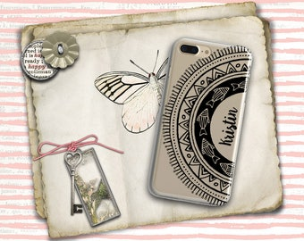 Personalised iPhone 7 Plus clear case, Monogram iPhone 8 case clear Mandala iPhone case, TPU bumpers for protection, Gift for men (1742)