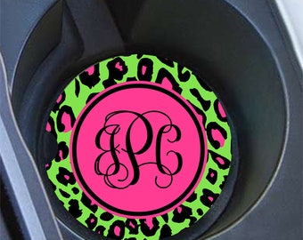 Hot pink car coasters, Cheetah with lime green interior decoration, Cute auto accessories for girls (9626)