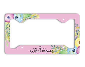 Custom monogrammed license plate frame, Pink and purple floral decoration for car Pretty accessories for vehicle Personalized gifts (1814)