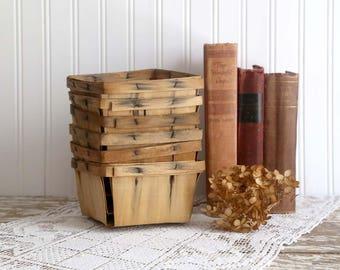 Vintage Berry Baskets, Small Berry Baskets, Pint Size Baskets, Farm Stand Fruit Baskets, Rustic Farmhouse Decor, Set of 6 Baskets