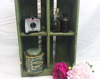 SUMMER SALE Rustic Vintage Wood Green Divided Crate