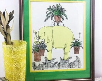 SUMMER SALE Vintage Signed Marguerite Baldasaro Elephant Print
