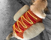 Hotdog sweater, dog costume, crochet dog sweater, puppy shirt, dog chothes, funny dog sweater, knit dog shirt, animal clothes, dog shirt