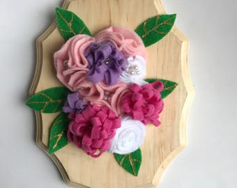 Felt flower wall hanging