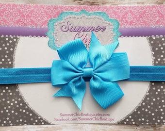 Baby Headband, Aqua Bow,  Headband, Infant Headband, Newborn Headband Aqua Bow Headband, Headband, Pinwheel Bow