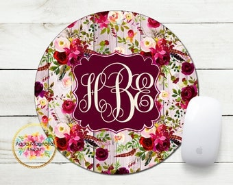 Personalized Mouse Pad - Watercolor Burgundy Roses - Shabby Chic - Desk Accessory - Round Mouse Pad - Watercolor Flowers - Floral Feathers