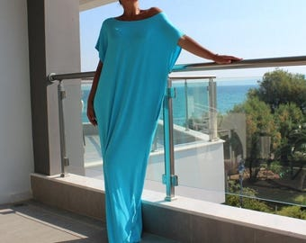 SALE ON 20 % OFF Turquoise Caftan Dress, Turquoise Dress, Turquoise Maxi Dress, Oversized Dress, Summer Dress, Cover-Up Dress, Beach Cover U
