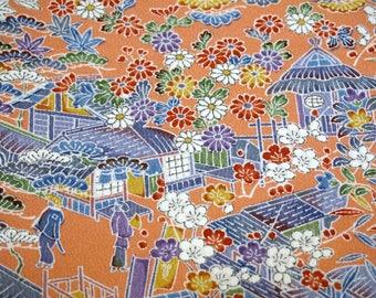 Yuzen Rural Landscape Vintage Japanese Tango chirimen silk kimono fabric