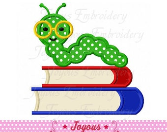 Instant Download Back To School Book With Worm Applique Machine Embroidery Design NO:2389