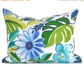 "CLEARANCE SALE 16""x12""  Outdoor Lumbar Pillow Cover Decorative Pillows Blue Pillow Richloom Outdoor Lensing Lagoon"