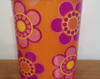 Vintage 1970's Flower Decorated Metal Trash Can Pop Art Trash Can, Flower Power Trash Can