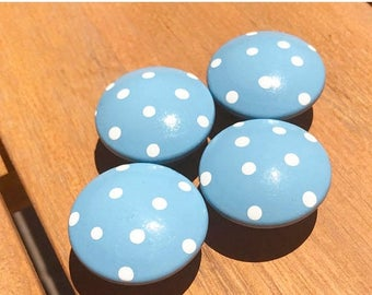 Huge Summer Sale CLEARANCE Baby Blue Polka Dot Drawer Knobs for Dresser Drawers Closet Doors or Use as Nail Covers great for boys room nurse