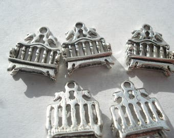 16mm Metal Alloy Antique Silver Bench Charms, Lead and Cadmium Free, Pack of 10 Bench Charms, C368