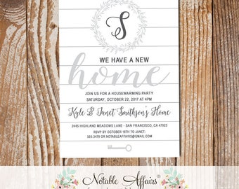 Monogram Wreath and Shiplap Housewarming Party Invitation - Shiplap New Home Open House Party Invite - White Shiplap Moving Announcement