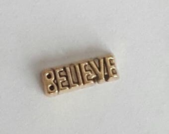 BELIEVE word Gold Floating Charm - Origami Owl - Living Locket