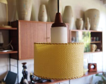 Mid Century 60's teak ceiling lamp vintage