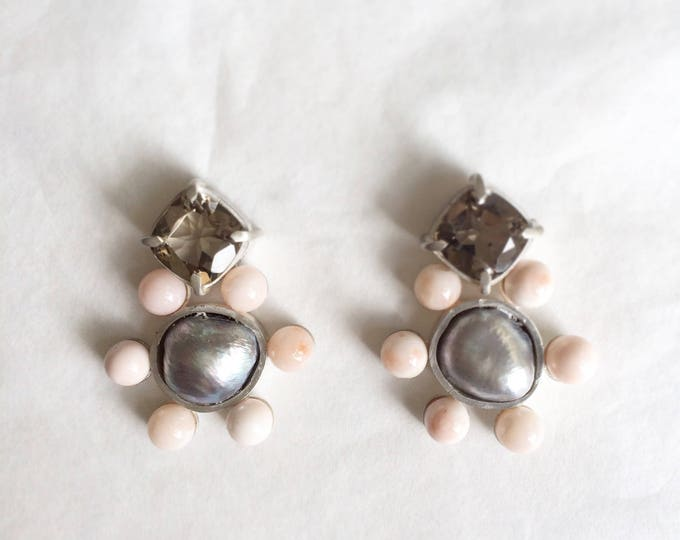 Baroque pearl - coral - smoquey quartz - earrings - silver 925 - one of a kind handmade jewelry - summer earring