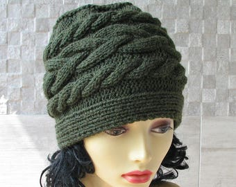 Hand Knit Slouchy Beanie, Winter Hat Kniited Beanie Hat, Knit Hat for Women Knit Hats Women, Khaki Green