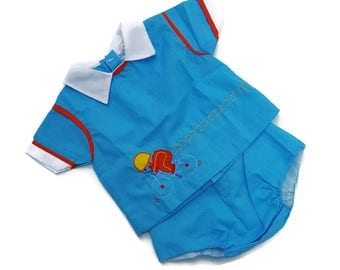 Vintage Baby Boy Diaper Shirt Pants Outfit Blue Bicycle 80s Mayfair 9 Month Infant