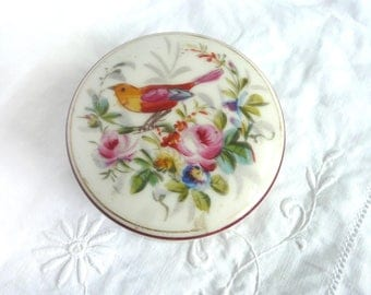Victorian china box - hand painted porcelain box - hand painted bird and flower trinket box - Victorian porcelain trinket box