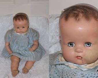 Vintage 1940s Ideal Composition Baby Doll - Cloth Body - Blue Glass Sleep Eyes - Molded Hair