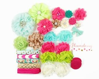 Hot Pink/Lime Green/Beige/Aqua Color-DIY Flower Headband Kit -  Make 10 Headbands- Flower Kit -Birthday/Pary Favor/Craft Supplies Kit