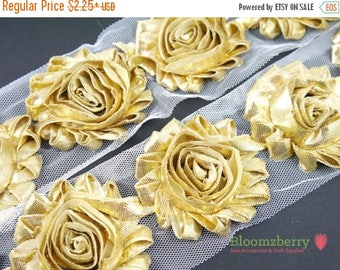 "Summer SALE 10% OFF 2.5"" Shabby Rose Trim-  Shiny/Metallic Gold Color- Chiffon Trim - Shabby Trim - Gold Shabby Rose Trim - Hair Accessories"