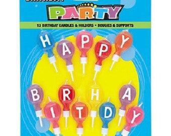 16 multicolor alphabet birthday candles