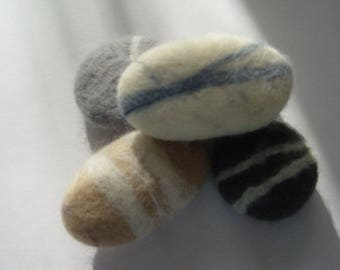 Felt Pebbles x 5, soft beach pebble, gift idea