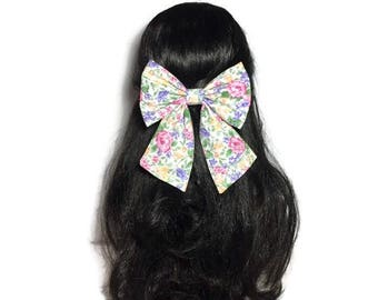 Lilac Pink Floral Bow, Large Hair Bow, Cheer Bow, Fabric Handmade Bow, Anime Bow, Cosplay Bow, Bow For Girls, Fabric Bow, Kawaii Bow LwT092