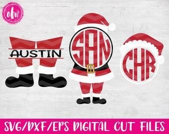 Christmas Santa Set, SVG, DXF, EPS, Cut Files, Monogram, Split, Santa's Helper, Claus, Silhouette, Cricut, Elf, Holiday, Vinyl