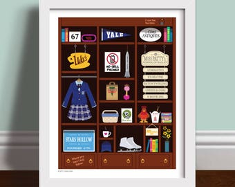 Gilmore Girls Bookcase Art Print Poster