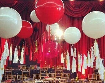 Valentines Balloons with Tassels, Red Balloons with Tassels, Valentines Day Decor, Valentines Day Party Decorations
